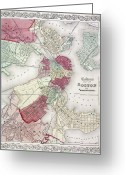 Charlestown Greeting Cards - Map: Boston, 1865 Greeting Card by Granger