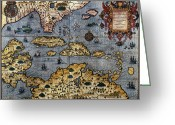 Text Map Photo Greeting Cards - MAP: CARIBBEAN, c1591 Greeting Card by Granger