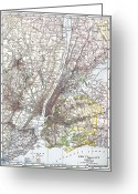 New York City Map Greeting Cards - Map: New York Area, 1906 Greeting Card by Granger
