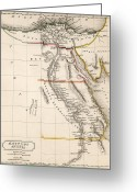 Northern Africa Drawings Greeting Cards - Map of Aegyptus Antiqua Greeting Card by Sydney Hall