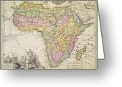 Old Map Drawings Greeting Cards - Map of Africa Greeting Card by Pieter Schenk