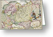 Border Drawings Greeting Cards - Map of Asia Minor Greeting Card by Nicolaes Visscher