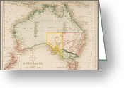 Oceania Greeting Cards - Map of Australia and New Zealand Greeting Card by J Archer