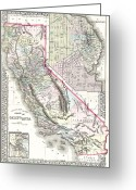 San Francisco Drawings Greeting Cards - Map Of California and San Francisco Greeting Card by Pg Reproductions