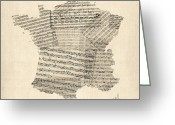 Music Score Digital Art Greeting Cards - Map of France Old Sheet Music Map Greeting Card by Michael Tompsett