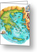 Sea Grape Digital Art Greeting Cards - Map Of Greece & Greek Isles Greeting Card by Jennifer Thermes