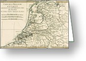 Old Map Drawings Greeting Cards - Map of Holland Including the Seven United Provinces of the Low Countries Greeting Card by Guillaume Raynal
