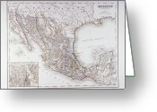 Antique Map Digital Art Greeting Cards - Map Of Mexico And Outlines Of Mexico City Greeting Card by Fototeca Storica Nazionale