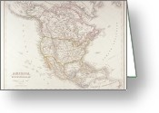 Antique Map Digital Art Greeting Cards - Map Of North America Greeting Card by Fototeca Storica Nazionale
