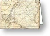 Atlantic Drawings Greeting Cards - Map of North America Greeting Card by Pg Reproductions