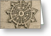 Birds Eye Greeting Cards - Map of Palmanova Greeting Card by French School