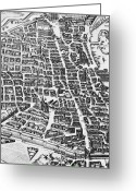 Old Map Drawings Greeting Cards - Map of Paris Greeting Card by German School