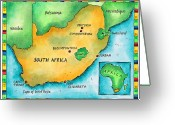 Johannesburg Greeting Cards - Map Of South Africa Greeting Card by Jennifer Thermes