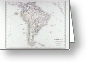 Antique Map Digital Art Greeting Cards - Map Of South America Greeting Card by Fototeca Storica Nazionale