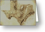 San Antonio Map Greeting Cards - Map of Texas in Vintage Greeting Card by Sarah Broadmeadow-Thomas