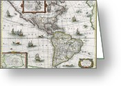 America The Continent Greeting Cards - Map of the Americas Greeting Card by Henricus Hondius