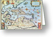 Gulf Of Mexico Greeting Cards - Map of the Caribbean islands and the American state of Florida  Greeting Card by Theodore de Bry