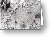 Border Drawings Greeting Cards - Map of the Coast of New England Greeting Card by Simon de Passe
