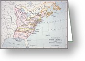 Declaration Of Independence Greeting Cards - Map of the Colonies of North America at the time of the Declaration of Independence Greeting Card by American School