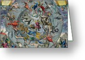 Constellations Greeting Cards - Map of the Constellations of the Northern Hemisphere Greeting Card by Andreas Cellarius