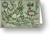 Border Drawings Greeting Cards - Map of the East Indies Greeting Card by Dutch School