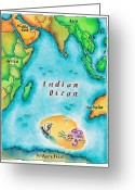 Indian Ink Greeting Cards - Map Of The Indian Ocean Greeting Card by Jennifer Thermes