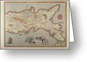 Physical Geography Greeting Cards - Map Of The Kingdom Of Naples Greeting Card by Fototeca Storica Nazionale
