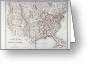 Antique Map Digital Art Greeting Cards - Map Of The Northen United States Greeting Card by Fototeca Storica Nazionale