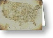Vintage Map Digital Art Greeting Cards - Map of The United States in Digital Vintage Greeting Card by Sarah Broadmeadow-Thomas