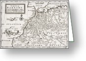 Piracy Greeting Cards - Map of the West Part of Barbary Greeting Card by Hermann Moll