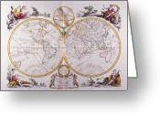 Antique Map Digital Art Greeting Cards - Map Of The World Greeting Card by Fototeca Storica Nazionale