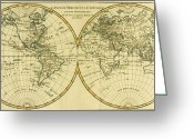 Old Map Drawings Greeting Cards - Map of the World in two Hemispheres Greeting Card by Guillaume Raynal