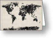 Country Art Greeting Cards - Map of the World Map Abstract Greeting Card by Michael Tompsett