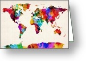 Watercolor Greeting Cards - Map of the World Map Abstract Painting Greeting Card by Michael Tompsett