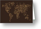 Ornamental Greeting Cards - Map of the World Map Floral Swirls Greeting Card by Michael Tompsett