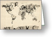 Clock Art Greeting Cards - Map of the World Map from Old Clocks Greeting Card by Michael Tompsett