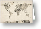 Old Greeting Cards - Map of the World Map from Old Postcards Greeting Card by Michael Tompsett