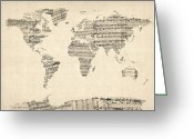 Map Greeting Cards - Map of the World Map from Old Sheet Music Greeting Card by Michael Tompsett