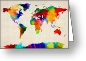 Map Greeting Cards - Map of the World Map Greeting Card by Michael Tompsett