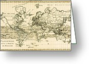 Old Map Drawings Greeting Cards - Map of the World using the Mercator Projection Greeting Card by Guillaume Raynal