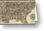 Mississippi County Greeting Cards - Map: Railroad, 1864 Greeting Card by Granger