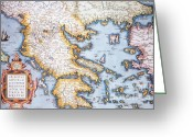 Old Map Photo Greeting Cards - Map Showing Pythagoras Travels Greeting Card by Photo Researchers