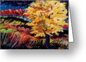 Vibrant Pastels Greeting Cards - Maple at Night Greeting Card by John  Williams