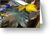 Leaf Sculpture Greeting Cards - Maple Leaf  Greeting Card by Jeremy Pontbriand