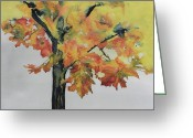Reds Tapestries - Textiles Greeting Cards - Maple On Fire Greeting Card by Carolyn Doe