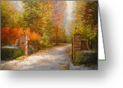 Open Road Painting Greeting Cards - Maples Gate Greeting Card by Katherine Tucker