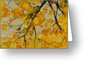 Batik Greeting Cards - Maples In Autumn Greeting Card by Carolyn Doe