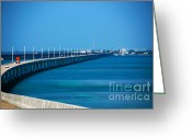 Florida Bridge Greeting Cards - Marathon and the 7Mile Bridge in the Florida Keys Greeting Card by Susanne Van Hulst