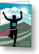 Sprinting Greeting Cards - Marathon Race Victory Greeting Card by Aloysius Patrimonio