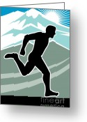 Sprinting Greeting Cards - Marathon Runner Greeting Card by Aloysius Patrimonio